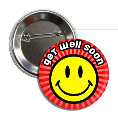 get well soon red rays smiley button