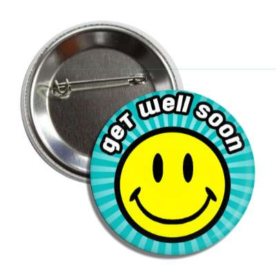 get well soon teal rays smiley button