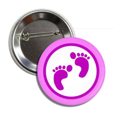 girl footprints pink border button