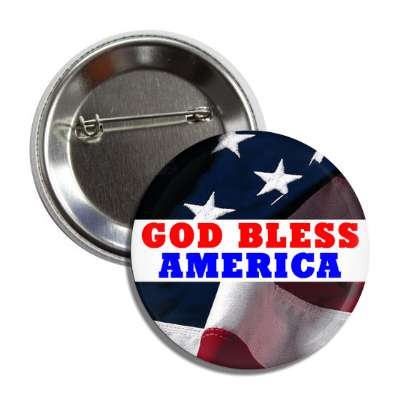 god bless america flag white rectangle red blue button