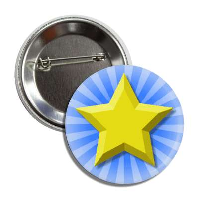 gold star blue burst rays button