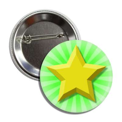 gold star green burst rays button