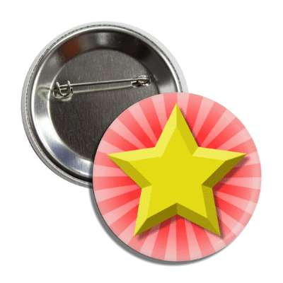 gold star red burst rays button