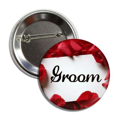 groom white card red petals button