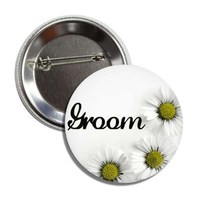 groom white flowers button