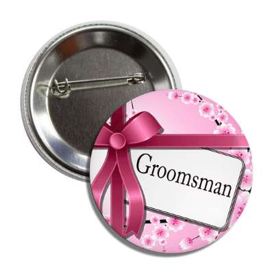 groomsman card pink ribbon flowers button