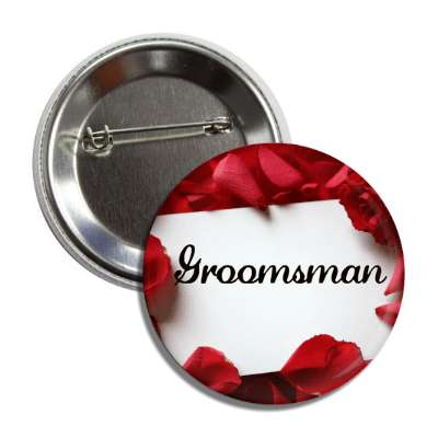 groomsman card white red petals button