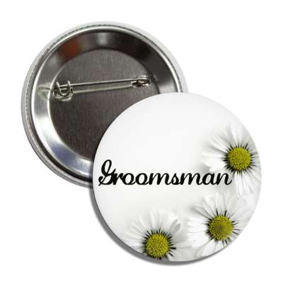 groomsman white flowers button