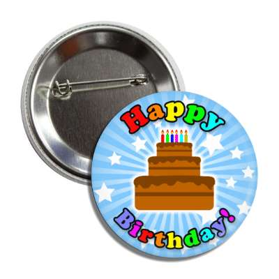 happy birthday cake blue rays stars rainbow button