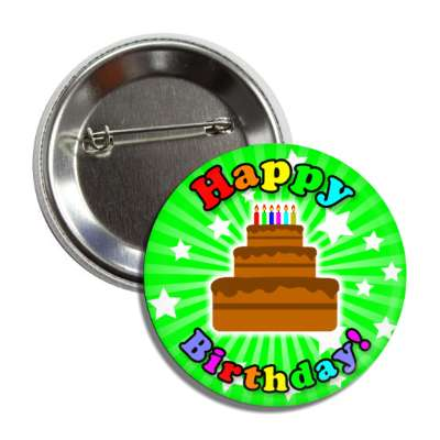 happy birthday cake green rays stars rainbow button