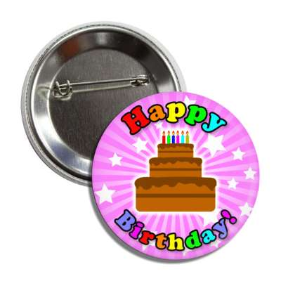 happy birthday cake magenta rays stars rainbow magenta button