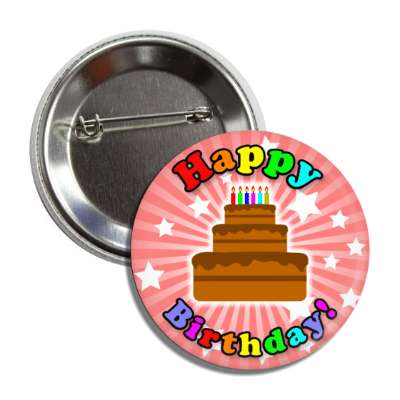 happy birthday cake pink ray stars rainbow button