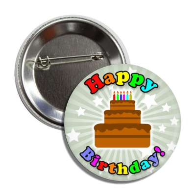happy birthday cake rainbow green ray stars button