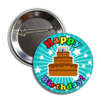 happy birthday cake teal rays stars rainbow button