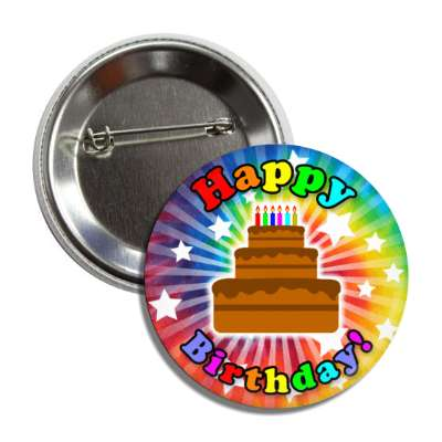 happy birthday cake tie die rays stars button