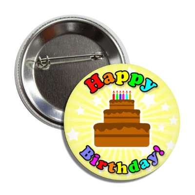 happy birthday cake yellow rays stars rainbow button