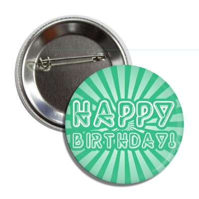 happy birthday green rays futuristic tubes button
