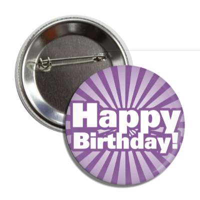 happy birthday purple rays bold modern button