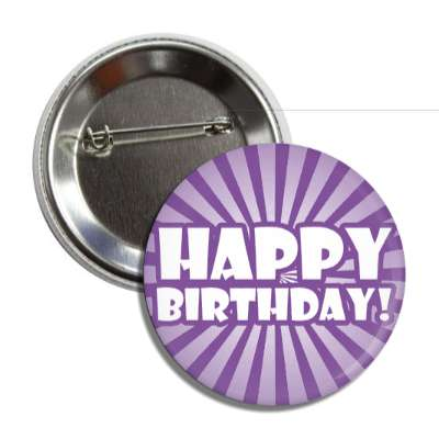 happy birthday purple rays bold button