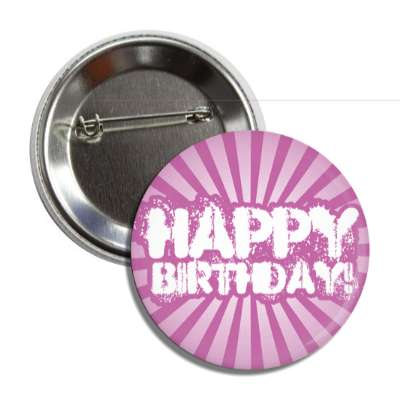 happy birthday purple rays splatter button