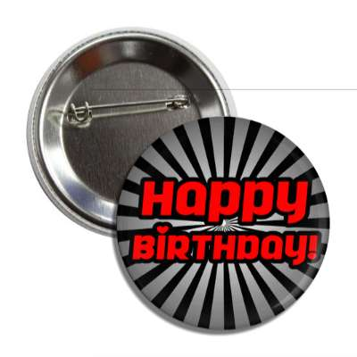 happy birthday red black rays button