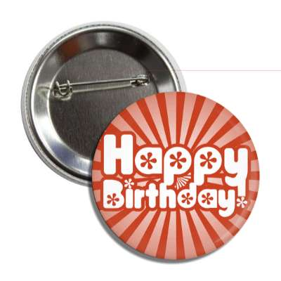 happy birthday red rays bold decorative button