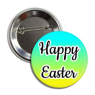 happy easter aqua green yellow cursive button