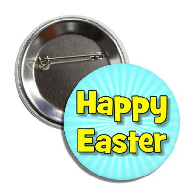 happy easter aqua yellow button