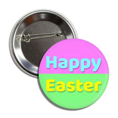 happy easter pink aqua yellow green button