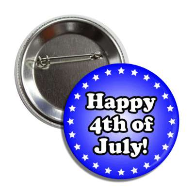 happy fourth of july stars blue button