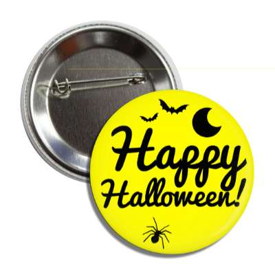 happy halloween bats moon spider yellow button
