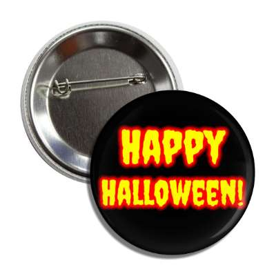 happy halloween black yellow red outline button