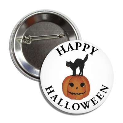 happy halloween cat pumpkin vintage button