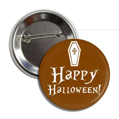happy halloween coffin brown button