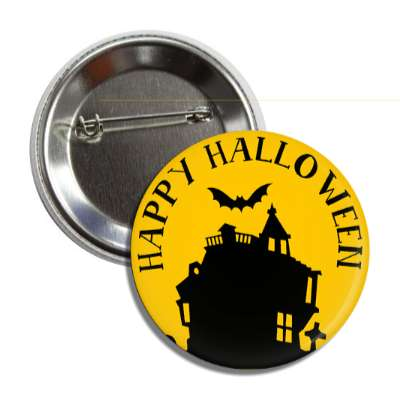 happy halloween house bat orange silhouette button