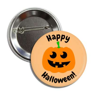 happy halloween jack o lantern light orange button