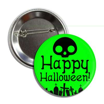 happy halloween skull graves green silhouette button