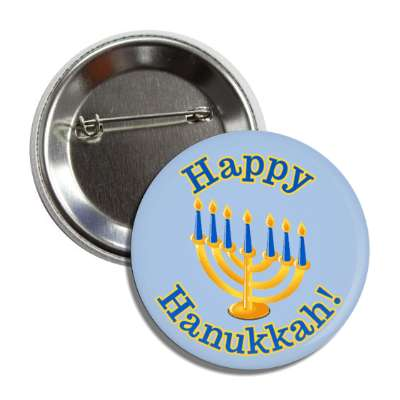 happy hanukkah candles menorah button