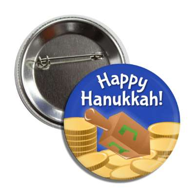 happy hanukkah coins dredel button