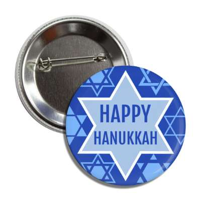 happy hanukkah dark blue light blue star of david button