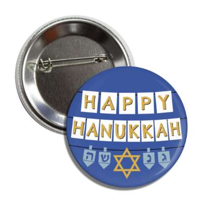 happy hanukkah deep blue dredel star of david button