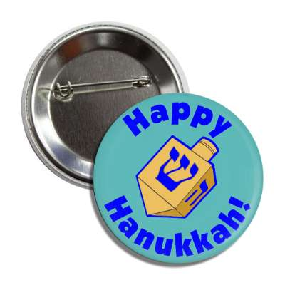 happy hanukkah dreidel blue button