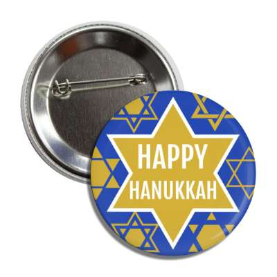 happy hanukkah gold star of david button