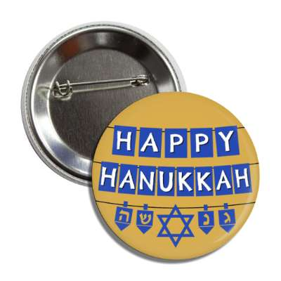 happy hanukkah letters gold button