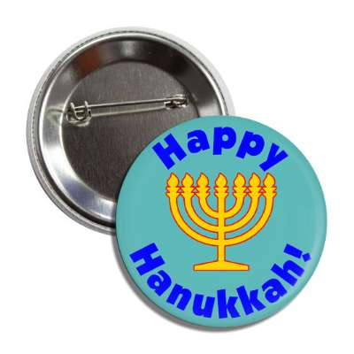 happy hanukkah menorah gold blue button