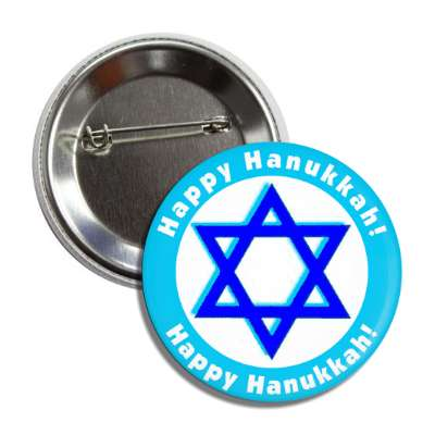happy hanukkah star of david aqua border button