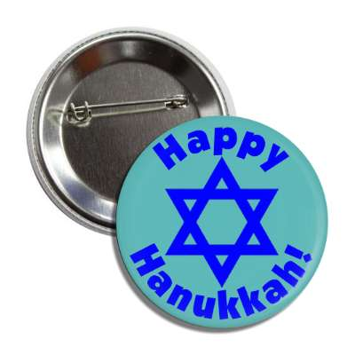 happy hanukkah star of david deep blue button