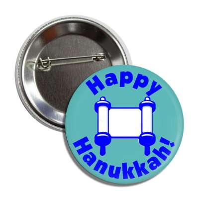 happy hanukkah torah button