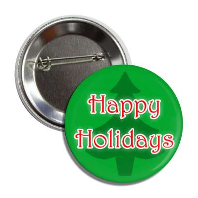 happy holidays christmas tree silhouette button