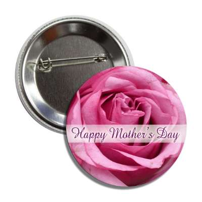 happy mothers day pink flower cursive button